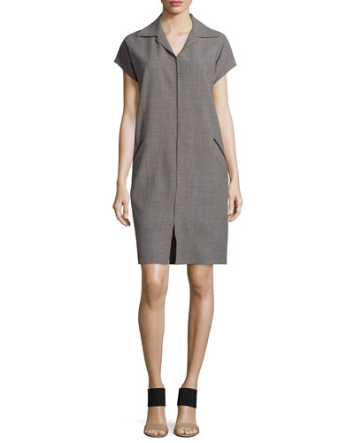 Cap-Sleeve Shirtdress W/Suede Trim, Storm
