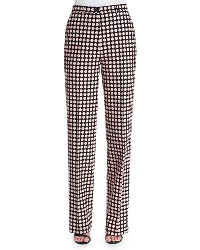 Dot-Print Straight-Leg Trousers, Black/Petale