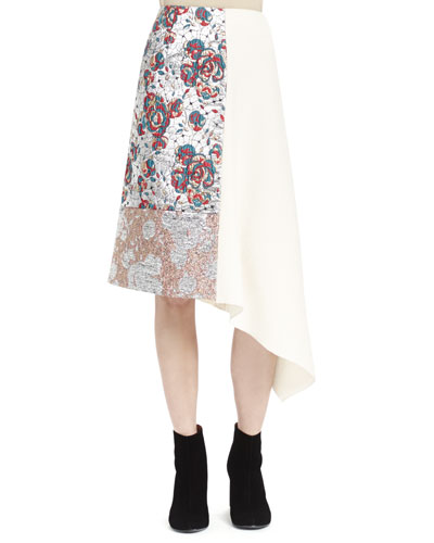Brocade Patch Midi Skirt, Winter White