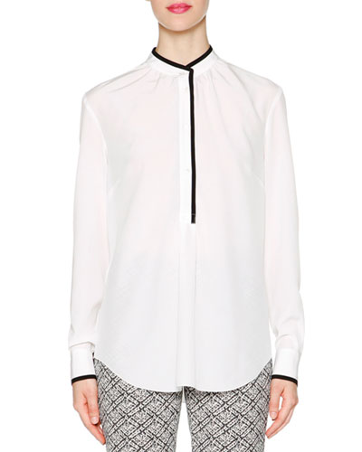 Contrast-Trimmed Tuck-Pleated Blouse