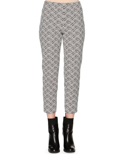 Audrey Weave-Pattern Jacquard Cropped Pants