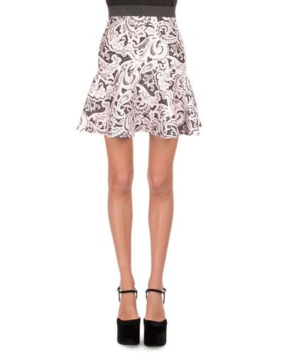 Lace-Print Flounce Skirt