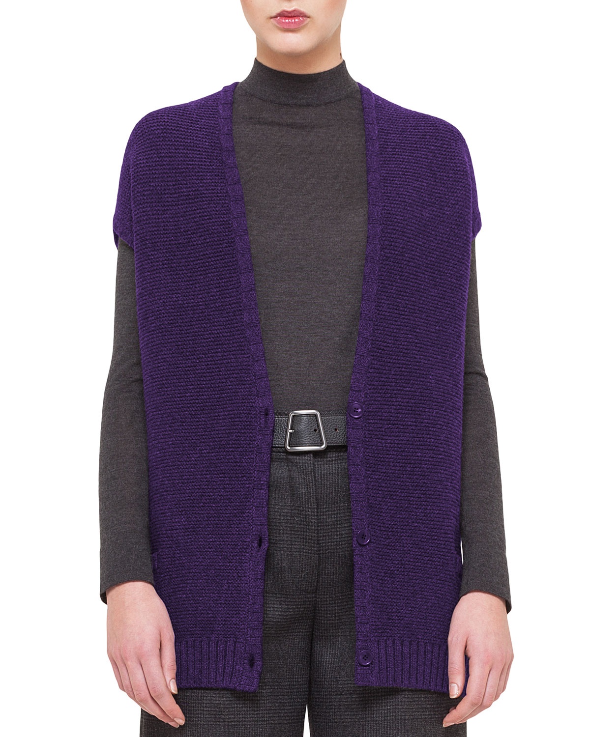 Stretch-Cashmere Reverse Ribbed Vest, Clematis