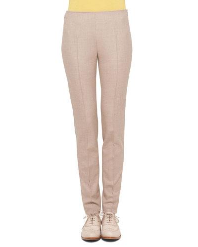 Melissa Stretch Flannel Pleated Slim Pants
