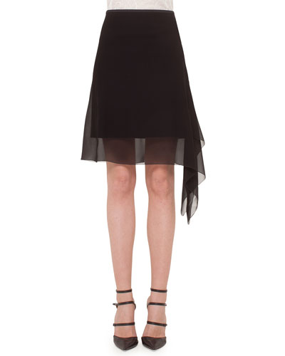 Asymmetric Overlay Georgette Skirt