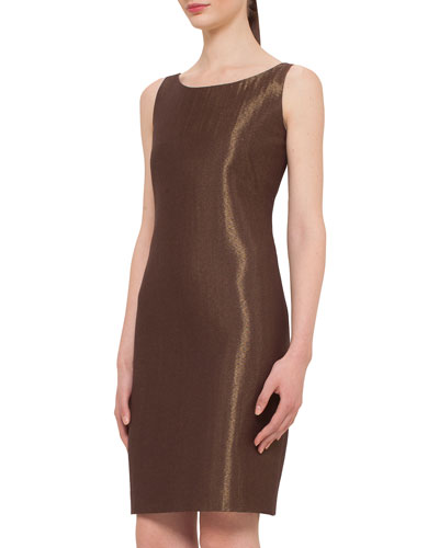 Metallic Woven Sheath Dress