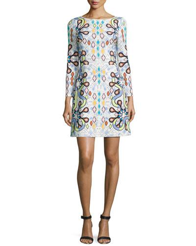 Long-Sleeve Geometric-Print Shift Dress