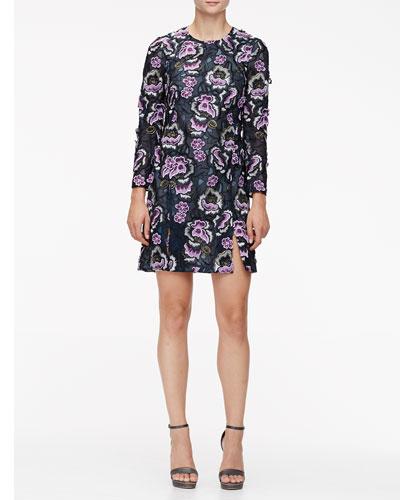 Floral-Embroidered Slit A-Line Dress