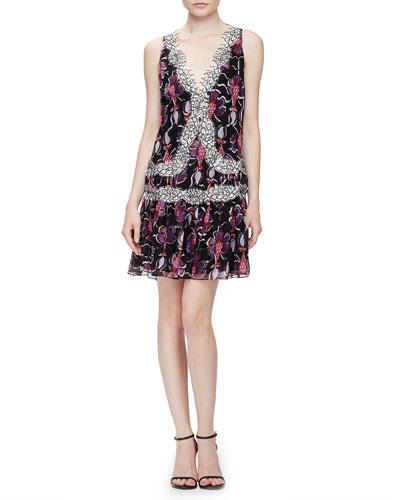 Floral-Print Lace-Trimmed Flounce Dress