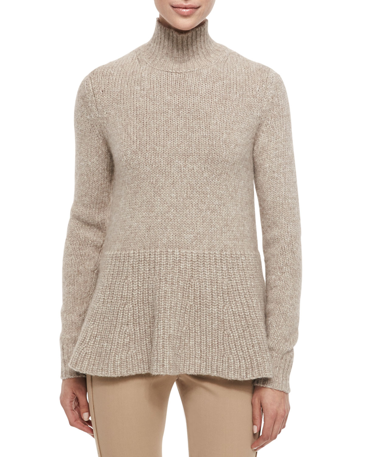 Alpaca Peplum Turtleneck Sweater