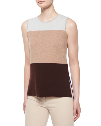 Sleeveless Colorblock Top, Gray/Camel/Vicuna
