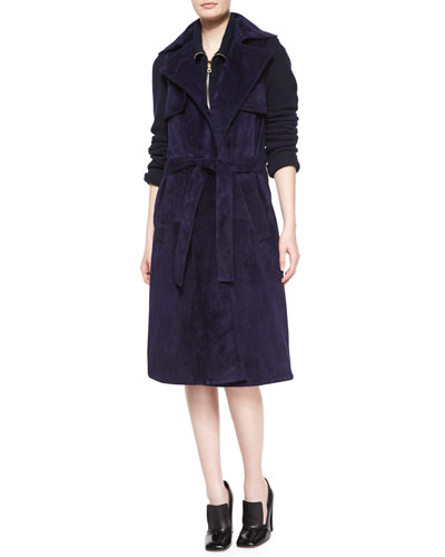 Suede & Knit Trench Coat, Navy