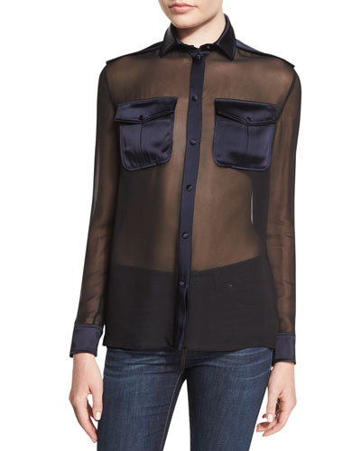 Long-Sleeve Button-Front Safari Blouse, Black/Ink