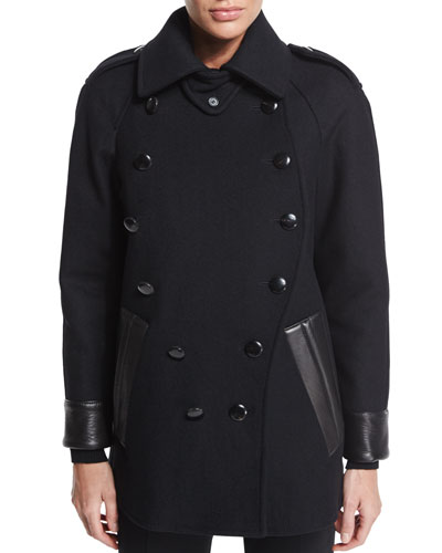 Leather-Trim Caban Coat, Black