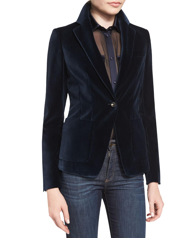 One-Button Velvet Jacket, Ink Blue