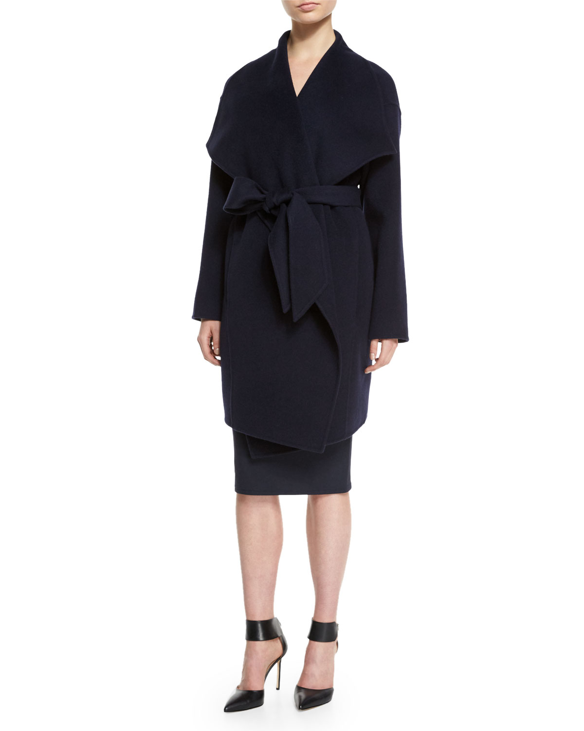 Draped Belted Cashmere Blanket Coat