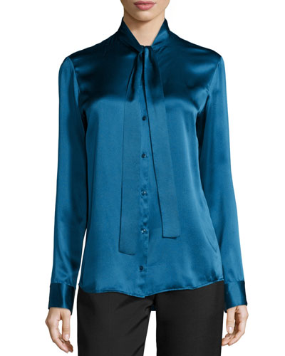 Tipet Silk Tie-Neck Blouse, Marine Blue