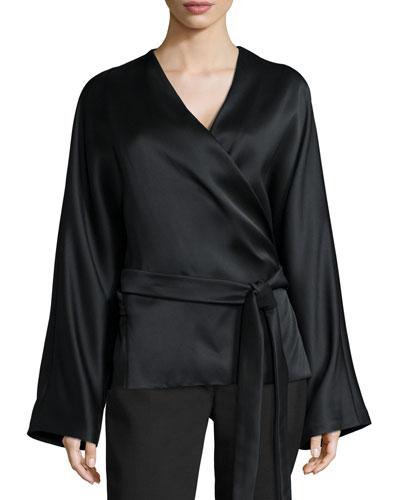 Haki Satin Kimono-Sleeve Top, Black