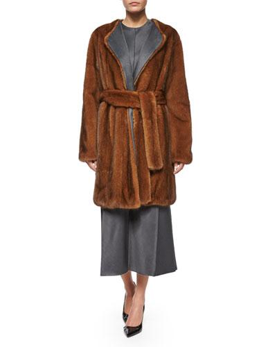 Narston Mink Fur Tie-Waist Coat, Copper