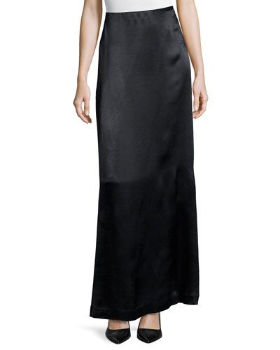 Pacel Satin Maxi Skirt, Black