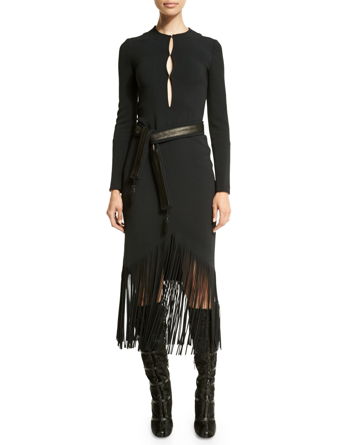 Long-Sleeve Fringe-Hem Belted Dress, Black
