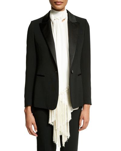 One-Button Long-Sleeve Jacket W/Fringe, Black
