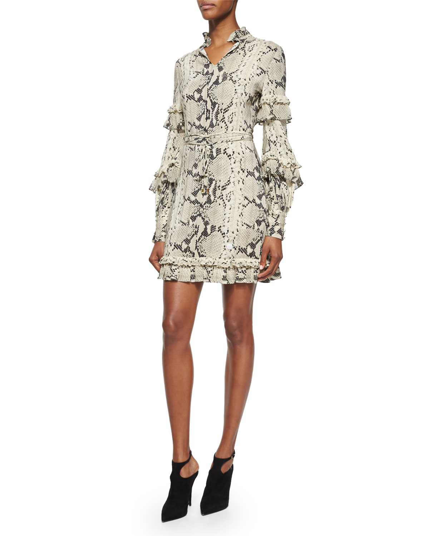 Long-Sleeve Snake-Print Ruffle Dress, Roccia