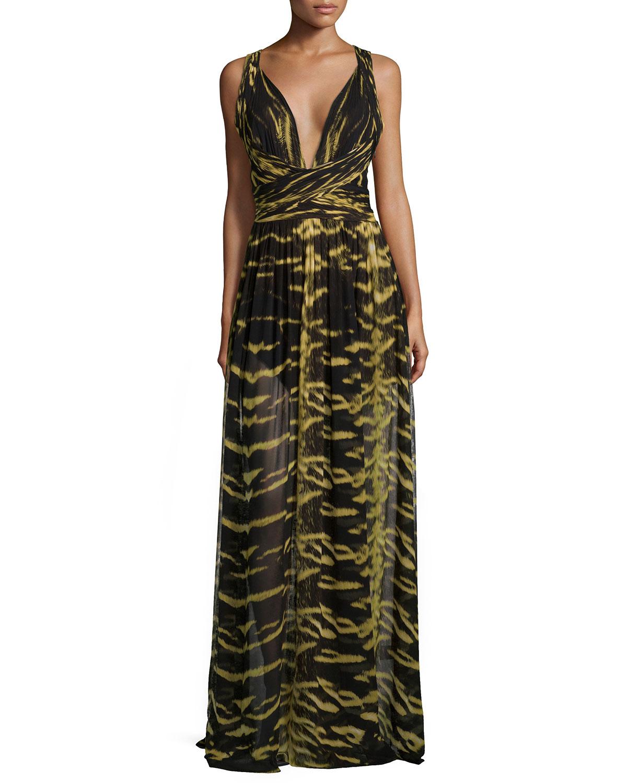 V-Neck Crisscross Animal-Print Gown