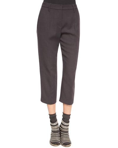 Pleated-Front Ankle Pants, Volcano