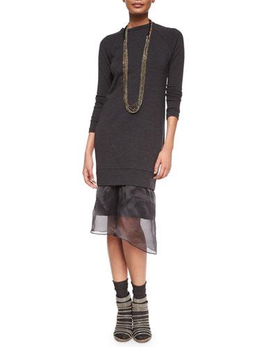 Long-Sleeve Duchess Sheer-Hem Dress, Anthracite