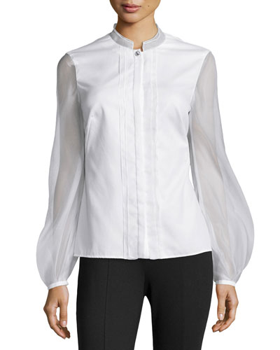 Gauze Contrast Pleated Blouse