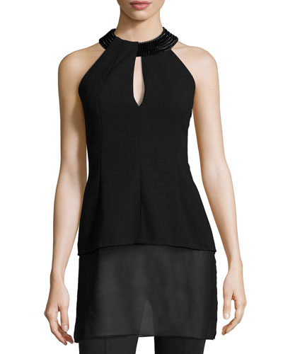 Embellished Halter-Neck Top, Black