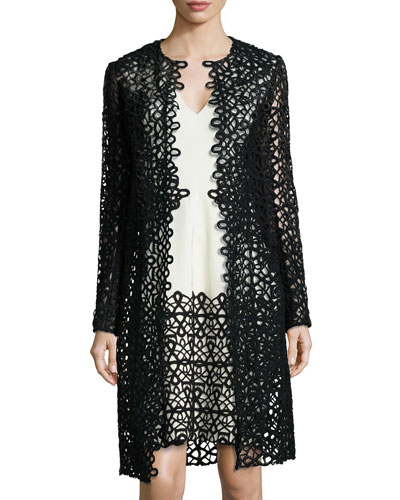 Long-Sleeve Scroll Guipure Lace Jacket, Black