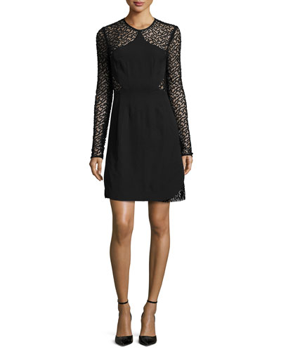 Long-Sleeve Embroidered-Dot Dress, Black