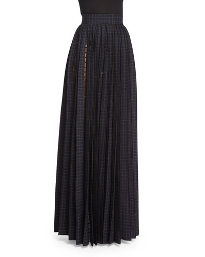 Beaded Tulle-Inset Pleated Maxi Skirt