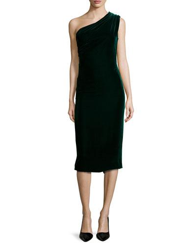 Slash-Back One-Shoulder Velvet Sheath Dress