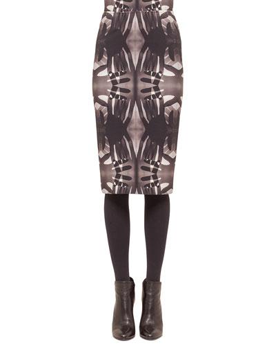 Handprint Midi Pencil Skirt