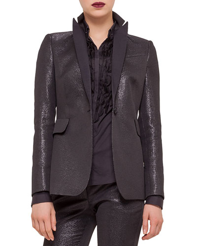 Fitted One-Button Tuxedo Jacket, Black