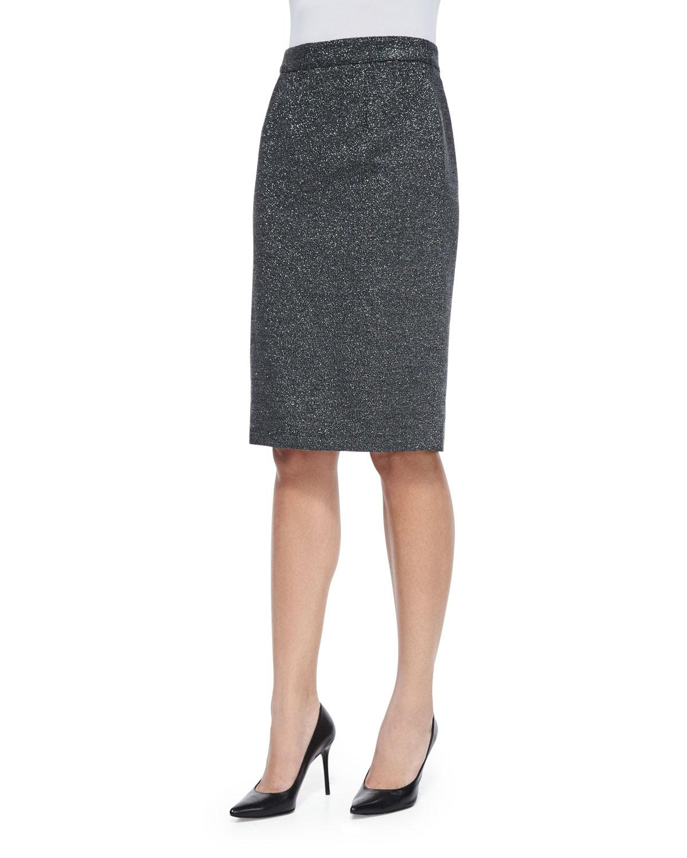 Metallic Pencil Skirt, Anthracite