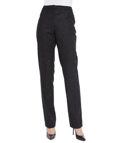 Snowflake Classic Straight-Leg Pants, Black
