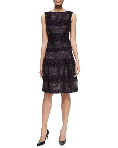 Sleeveless Combo Stripe Dress, Black Multi
