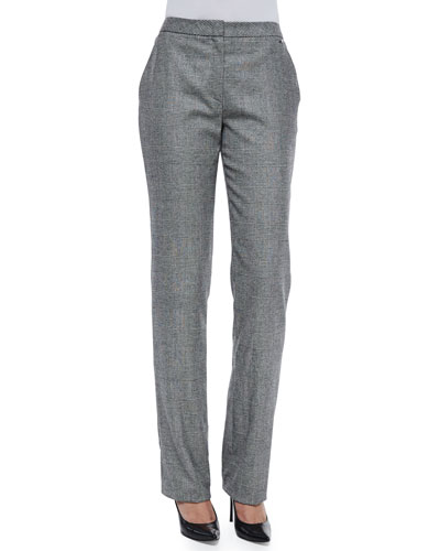Tamineh Glen-Check Straight-Leg Trousers, Black