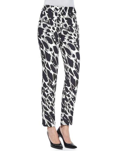 Tina Marble-Print Slim-Leg Pants, Black Multi