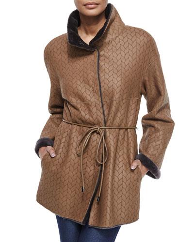 Twin-Face Herringbone Shearling Fur Jacket