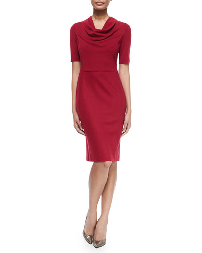 Short-Sleeve Cowl-Neck Dress, Dark Cherry