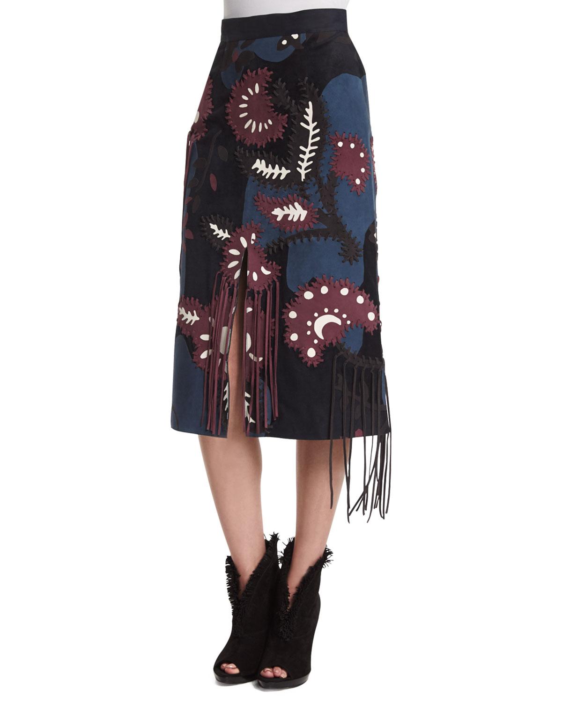 Patchwork Suede Skirt W/Fringe, Bright Navy