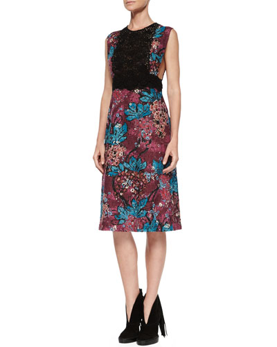 Sleeveless Layered-Lace Dress, Elderberry