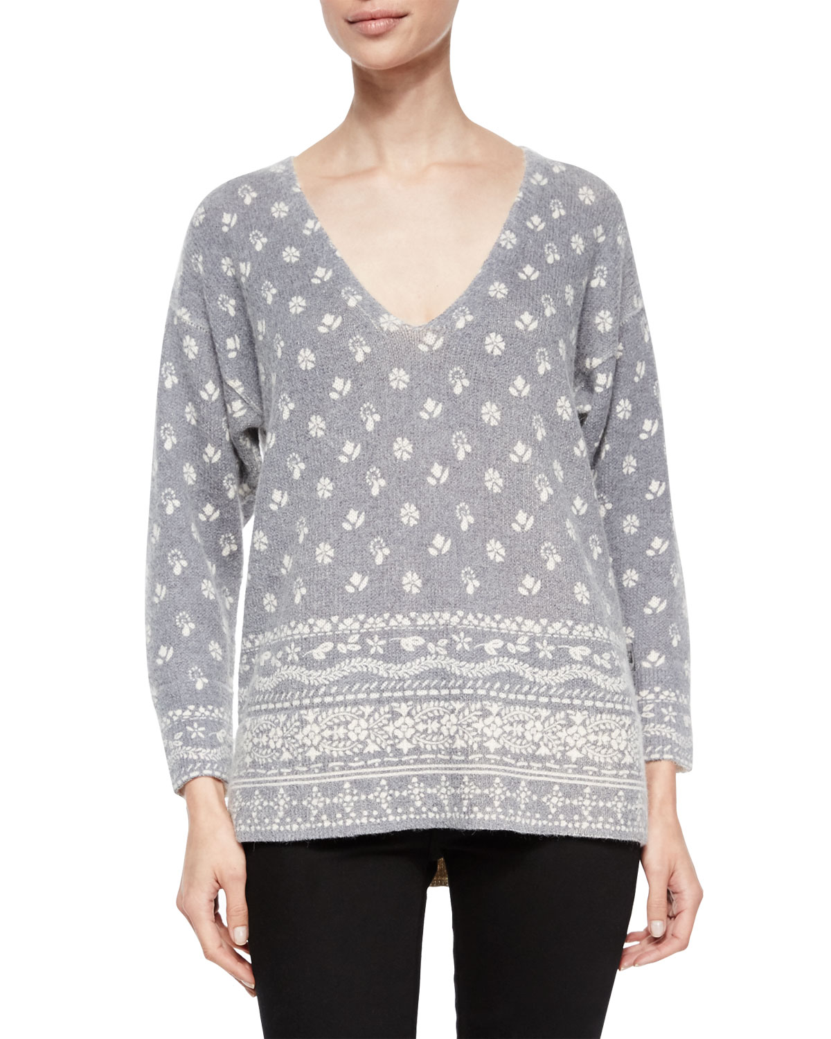 Bandana-Print V-Neck Sweater