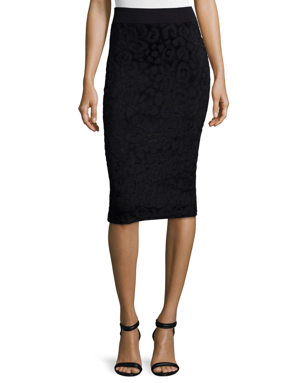 Textured Animal-Print Pencil Skirt, Black