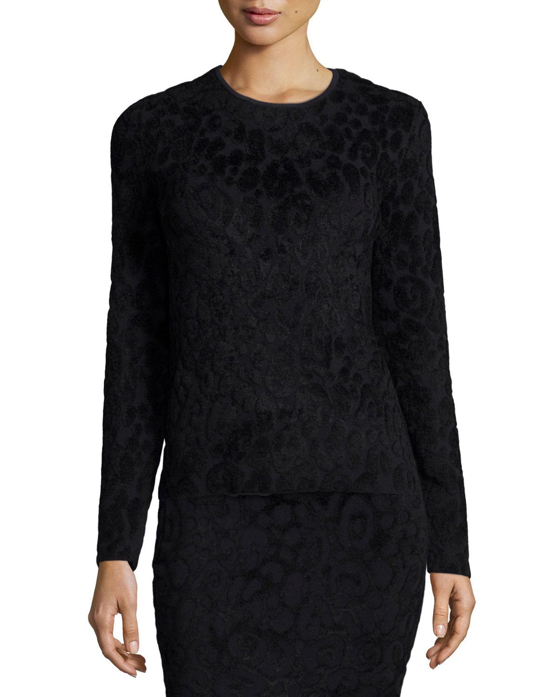 Long-Sleeve Textured Animal-Print Tee, Black